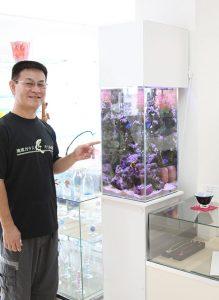 琉球ガラス匠工房石川本店、社長と水槽写真